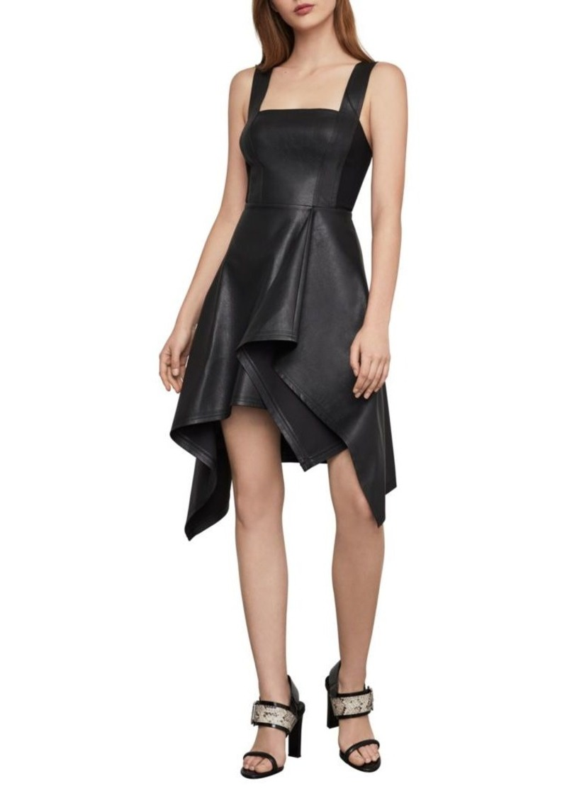 BCBG Max Azria Asymmetric Faux Leather Fit-&-Flare Dress