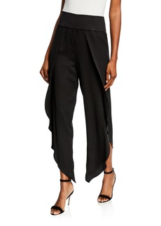 BCBG Max Azria Asymmetric-Hem Draped Pants