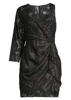 BCBG Max Azria Asymmetric Metallic Jacquard Dress