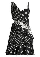 BCBG Max Azria Asymmetric One-Shoulder Polka Dot Dress
