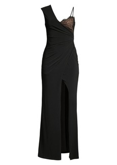 BCBG Max Azria Asymmetric Ruched Jersey Gown
