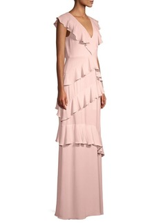 BCBG Max Azria Asymmetric Ruffle Maxi Dress