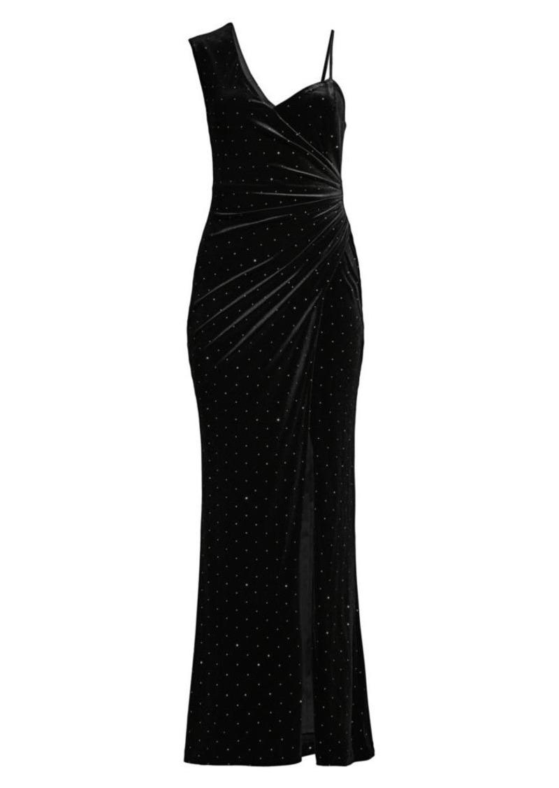 BCBG Max Azria Asymmetric Shoulder Evening Dress