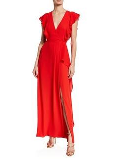 BCBG Max Azria Asymmetric V-Neck Ruffle Sleeve Gown