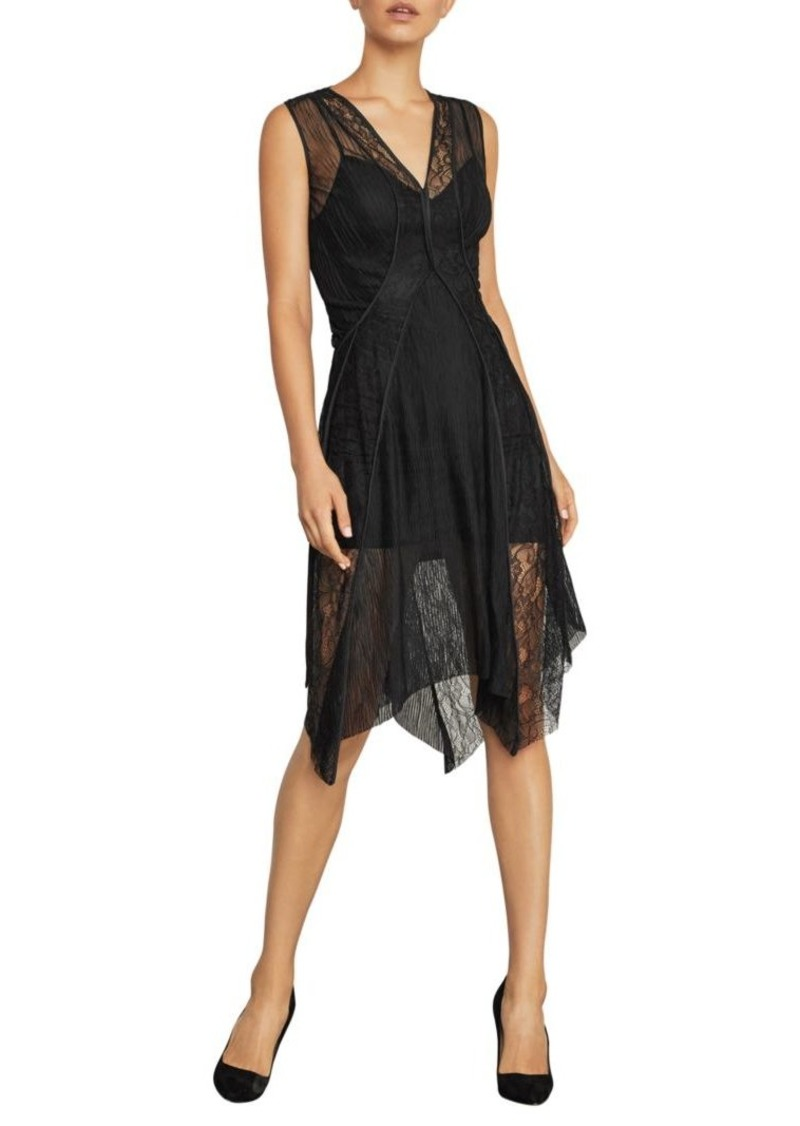 BCBG Max Azria Asymmetrical Lace-Trimmed Dress