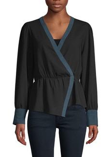 BCBG Max Azria Asymmetrical Long-Sleeve Top