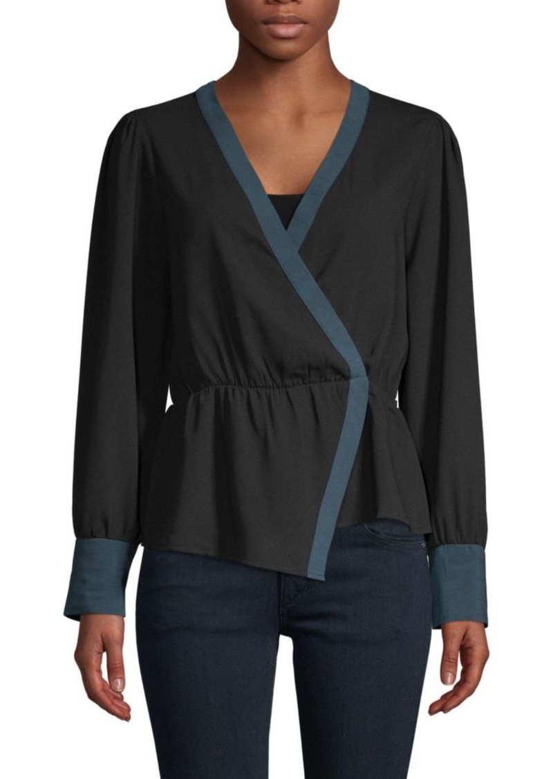 BCBG Max Azria Asymmetrical Long-Sleeve Top
