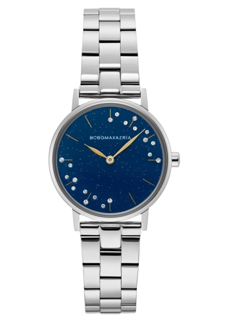 BCBG Max Azria Bcbgmaxazria Ladies Blue Dial Round Stainless Steel Bracelet Watch, 32mm