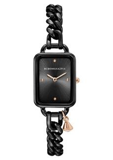BCBG Max Azria Bcbgmaxazria Ladies Rectangle Black Stainless Steel Chain Bracelet with Rose Goldtone Crystal Charm Watch, 15mm x 21mm