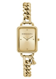 BCBG Max Azria Bcbgmaxazria Ladies Rectangle Goldtone Stainless Steel Chain Bracelet with Crystal Charm Watch, 15mm x 21mm