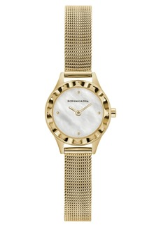 BCBG Max Azria Bcbgmaxazria Ladies Round Goldtone Stainless Steel Mesh Strap Watch, 24mm