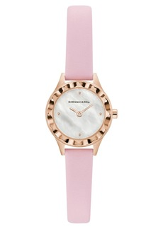 BCBG Max Azria Bcbgmaxazria Ladies Round Pink Genuine Leather Strap Watch, 24mm