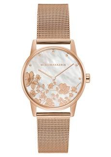 BCBG Max Azria Bcbgmaxazria Ladies Round Rose Goldtone Mesh Strap Watch, 35mm