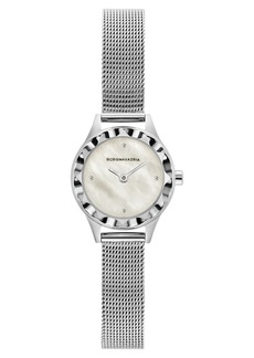 BCBG Max Azria Bcbgmaxazria Ladies Round Silver Stainless Steel Mesh Strap Watch, 24mm