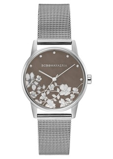 BCBG Max Azria Bcbgmaxazria Ladies Round Silver Stainless Steel Mesh Strap Watch, 35mm