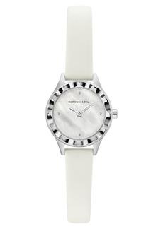 BCBG Max Azria Bcbgmaxazria Ladies Round White Genuine Leather Strap Watch, 24mm
