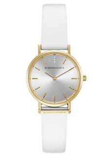 BCBG Max Azria Bcbgmaxazria Ladies Round White Genuine Leather Strap Watch, 30mm