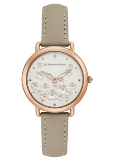 BCBG Max Azria Bcbgmaxazria Ladies Beige Leather Strap with Floral Dial with Rose Gold Case, 34mm