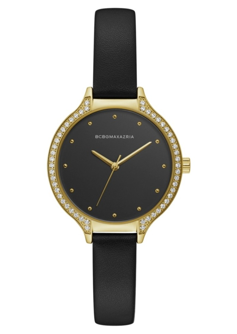 BCBG Max Azria Bcbgmaxazria Ladies Black Leather Strap Watch with Black Dial and Gold Case, 34mm