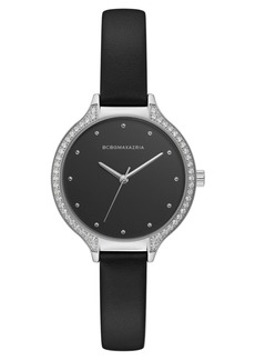 BCBG Max Azria Bcbgmaxazria Ladies Black Leather Strap Watch with Black Dial and Silver Case, 34mm