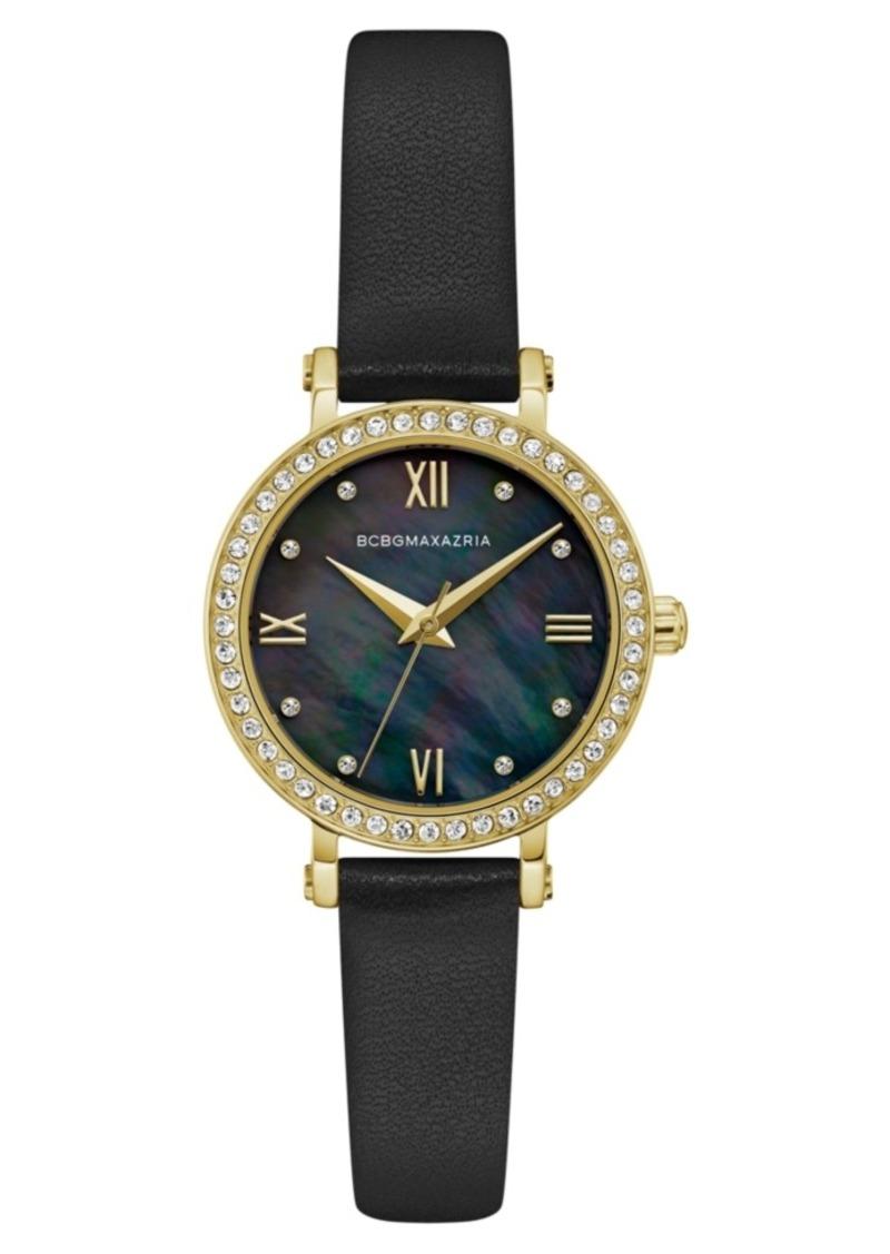 BCBG Max Azria Bcbgmaxazria Ladies Black Leather Strap Watch with Dark Mop Dial, 30mm