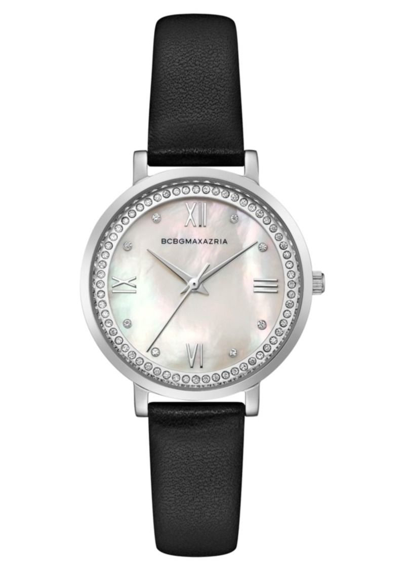 BCBG Max Azria Bcbgmaxazria Ladies Black Leather Strap Watch with Light Mop Dial, 33mm