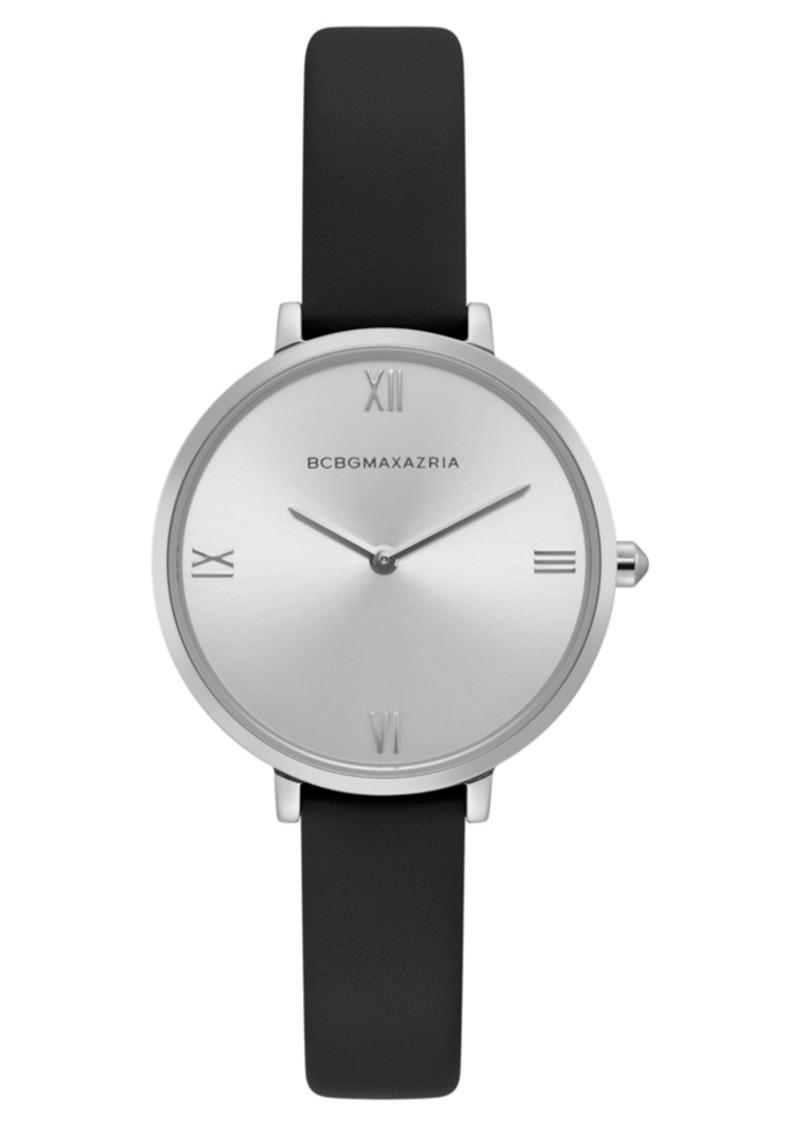 BCBG Max Azria Bcbgmaxazria Ladies Black Strap Watch with Silver Dial, 34mm