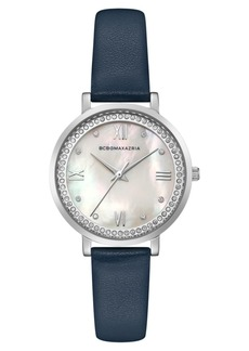 BCBG Max Azria Bcbgmaxazria Ladies Blue Leather Strap Watch with Light Mop Dial, 33mm