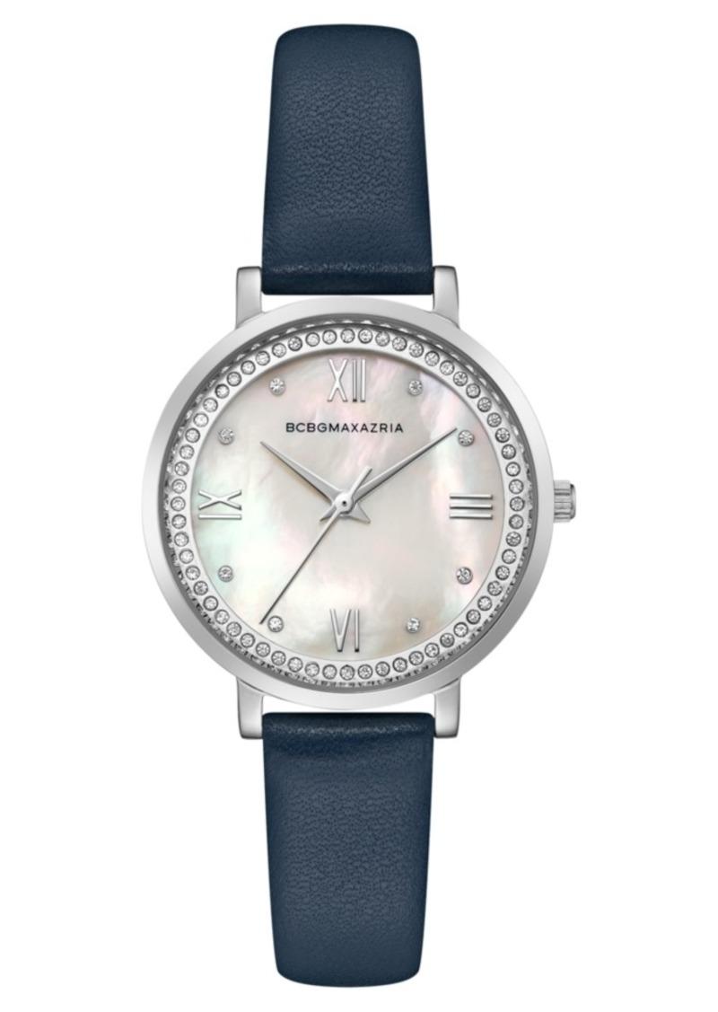 BCBG Max Azria Bcbgmaxazria Ladies Blue Leather Strap Watch with Light Mop Dial, 33mm