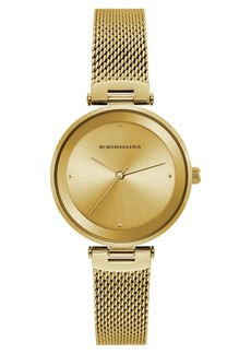 BCBG Max Azria Bcbgmaxazria Ladies Gold Tone Mesh Bracelet Watch with Gold Dial, 33mm
