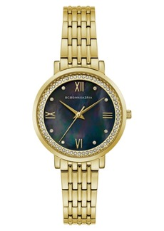 BCBG Max Azria Bcbgmaxazria Ladies GoldTone Bracelet Watch with Dark Mop Dial, 33mm