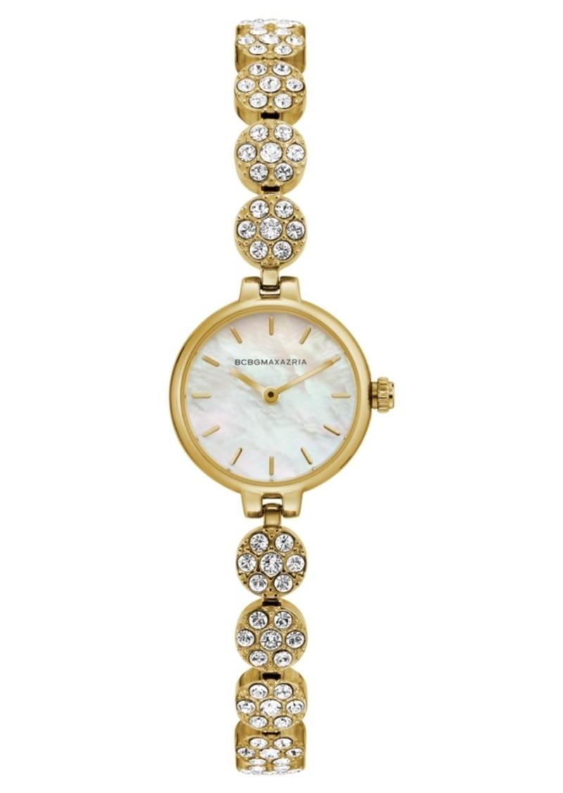 BCBG Max Azria Bcbgmaxazria Ladies GoldTone Crystal Bracelet with Mop Dial, 22mm