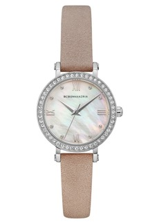 BCBG Max Azria Bcbgmaxazria Ladies Pink Leather Strap Watch with Light Mop Dial, 30mm