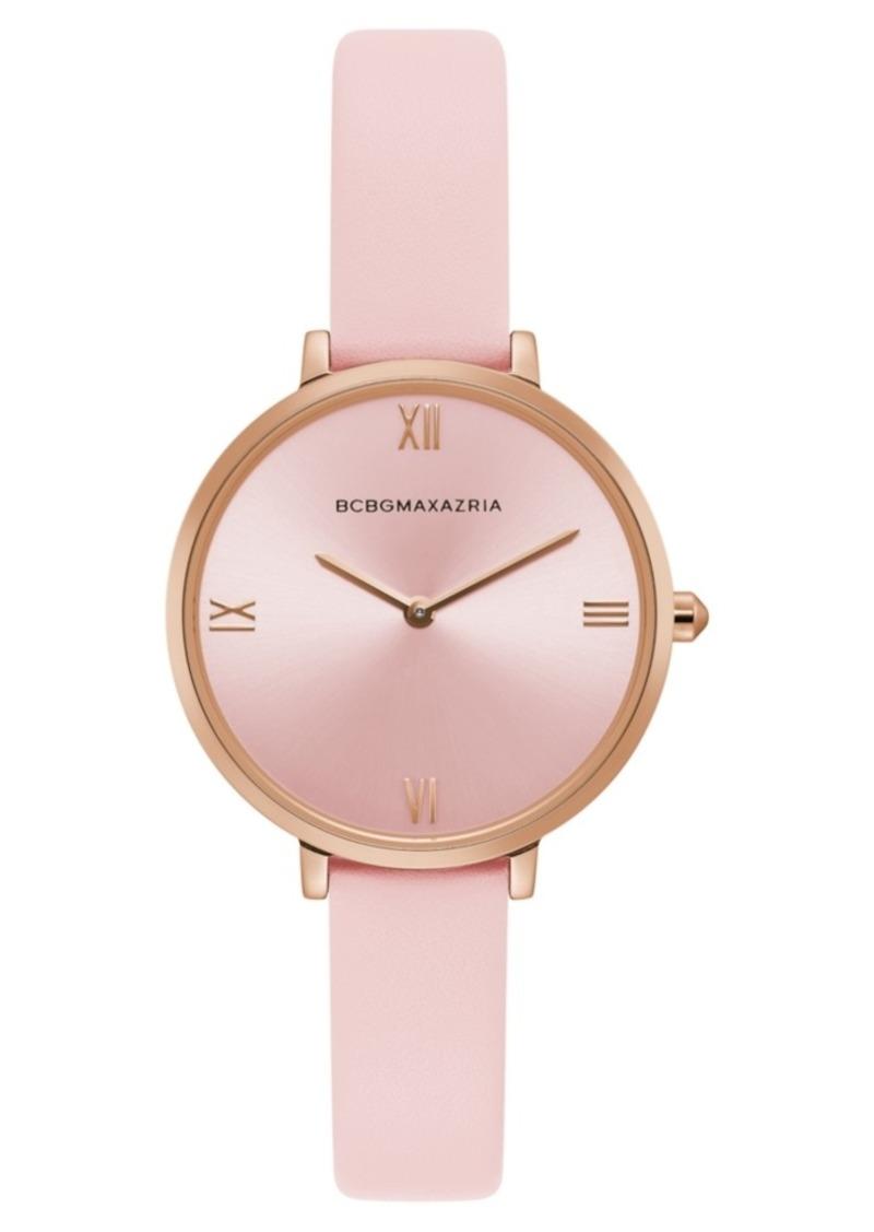 BCBG Max Azria Bcbgmaxazria Ladies Pink Strap Watch with Rose Gold Dial, 34mm