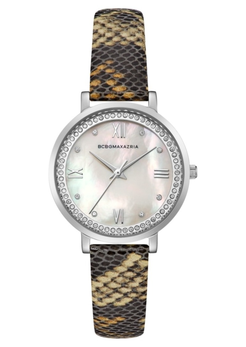 BCBG Max Azria Bcbgmaxazria Ladies Printed Leather Strap Watch with Light Mop Dial, 33mm