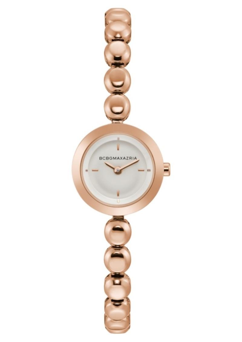 BCBG Max Azria Bcbgmaxazria Ladies Rose Gold Bracelet Watch with Silver Dial, 20mm