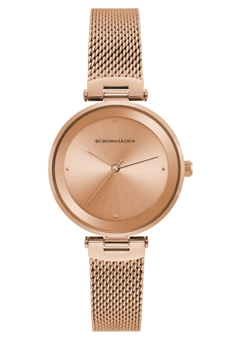 BCBG Max Azria Bcbgmaxazria Ladies Rose Gold Tone Mesh Bracelet Watch with Rose Gold Dial, 33mm