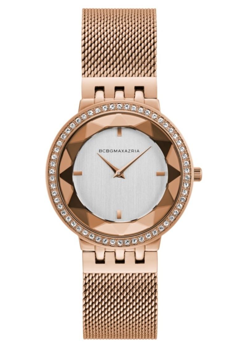 BCBG Max Azria Bcbgmaxazria Ladies Rose Gold Tone Mesh Bracelet Watch with Silver Dial, 35mm