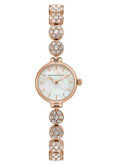 BCBG Max Azria Bcbgmaxazria Ladies Rose GoldTone Crystal Bracelet with Mop Dial, 22mm