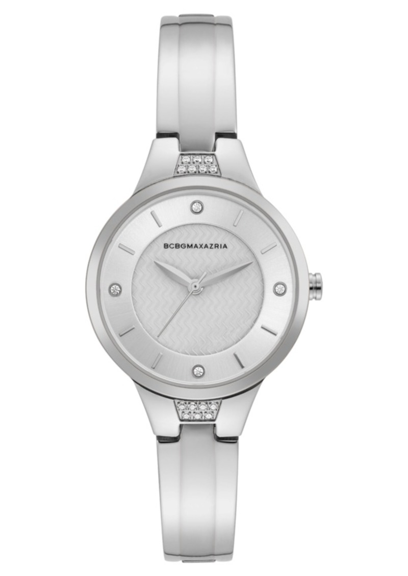 BCBG Max Azria Bcbgmaxazria Ladies Silver Bangle Bracelet Watch with Silver Dial, 32mm