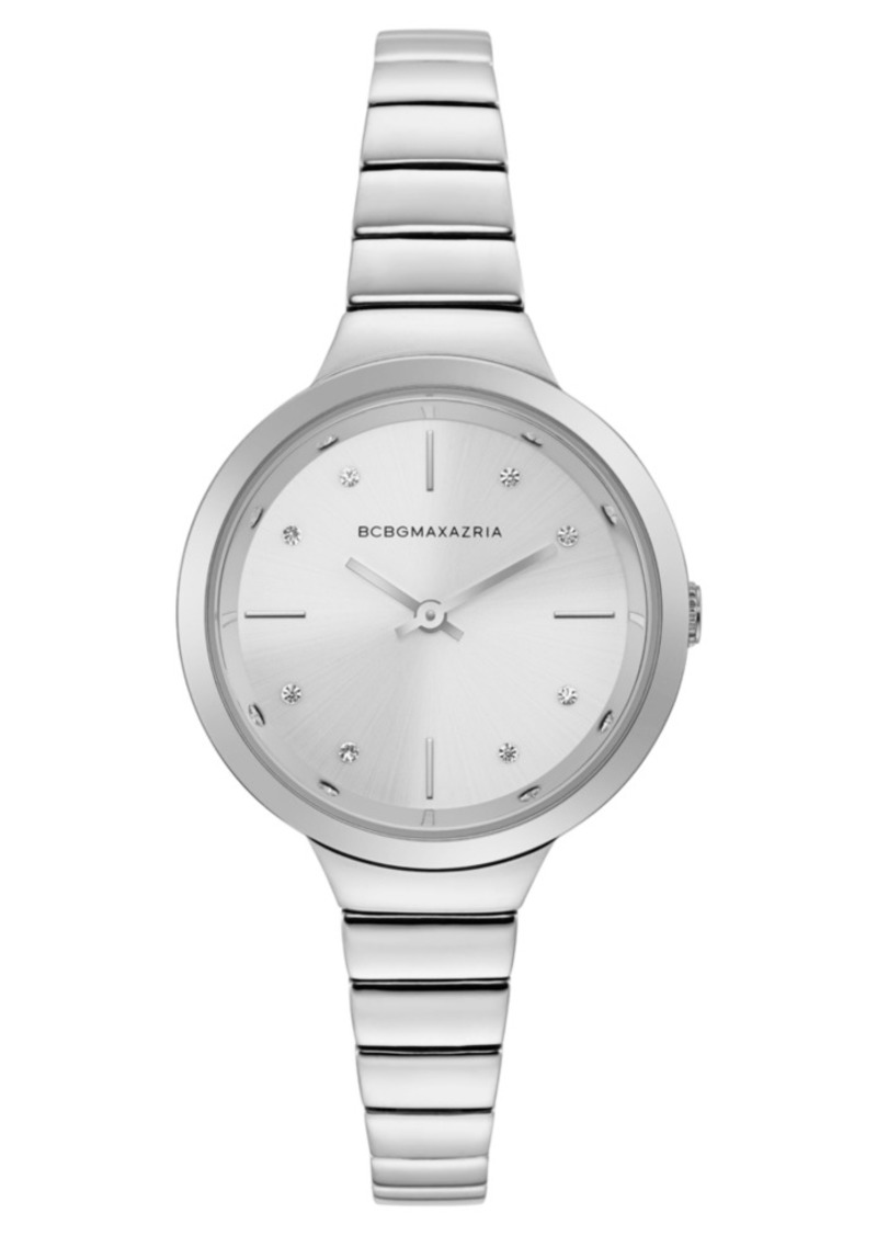 BCBG Max Azria Bcbgmaxazria Ladies Silver Bracelet Watch with Silver Dial, 34mm
