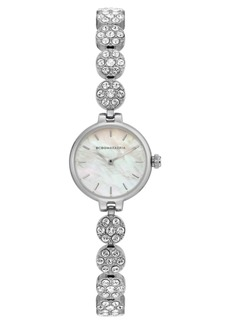BCBG Max Azria Bcbgmaxazria Ladies Silver Crystal Bracelet with Mop Dial, 22mm