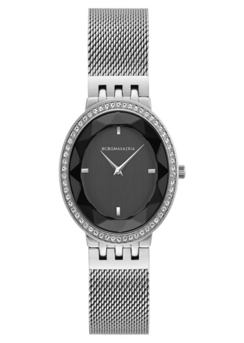BCBG Max Azria Bcbgmaxazria Ladies Silver Tone Mesh Bracelet Watch with Black Dial, 35mm