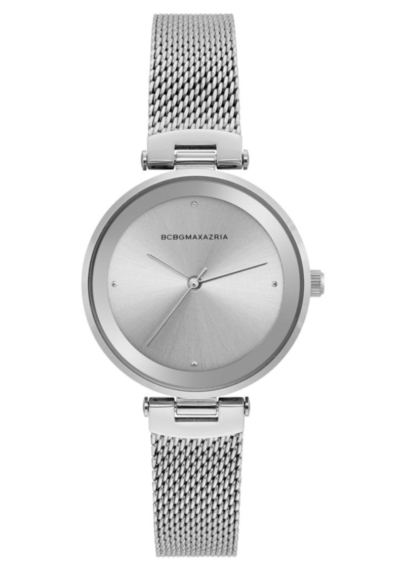 BCBG Max Azria Bcbgmaxazria Ladies Silver Tone Mesh Bracelet Watch with Silver Dial, 33mm
