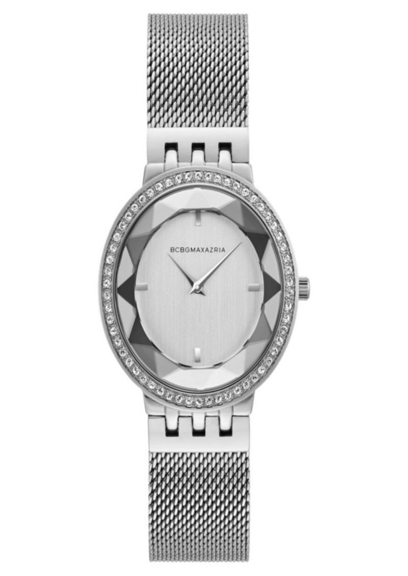 BCBG Max Azria Bcbgmaxazria Ladies Silver Tone Mesh Bracelet Watch with Silver Dial, 35mm