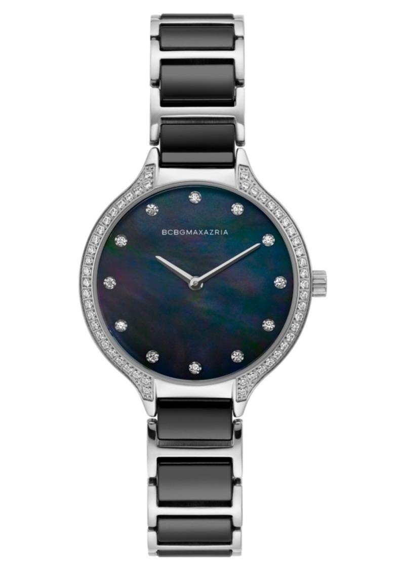 BCBG Max Azria Bcbgmaxazria Ladies Stainless Steel and Black Ceramic Bracelet Watch with Black Dial, 34mm