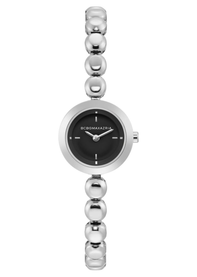 BCBG Max Azria Bcbgmaxazria Ladies Stainless Steel Bracelet Watch with Black Dial, 20mm