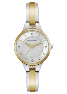 BCBG Max Azria Bcbgmaxazria Ladies Two Tone Bangle Bracelet Watch with Silver Dial, 32mm