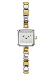 BCBG Max Azria Bcbgmaxazria Ladies Two Tone Bracelet Watch with Silver Square Dial, 20mm