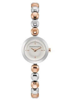 BCBG Max Azria Bcbgmaxazria Ladies Two Tone Rose Gold Bracelet Watch with Silver Dial, 20mm